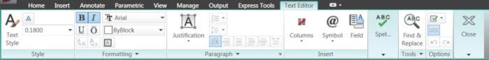 Текстовый редактор AutoCAD